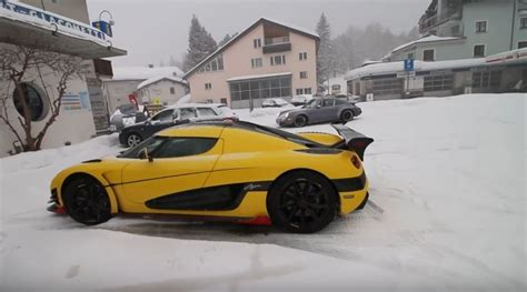 koenigsegg snow 1 160 hp koenigsegg agera rs ml plows the snow in swiss