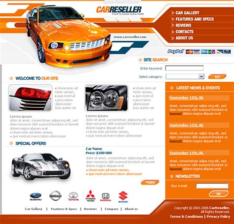 car html template car reseller web template 0620 cars transportation