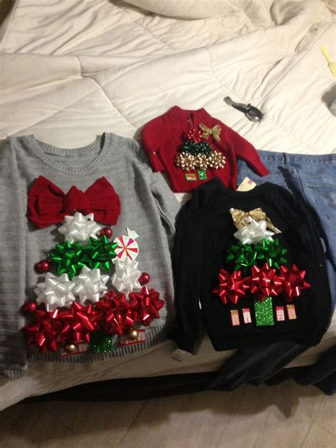 homemade christmas ugly sweater ideas diy sweater bows happy holidays