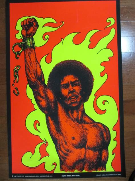 black power and light 1960s 70s houston blacklight poster now free my mind black