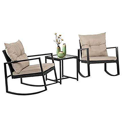 amazoncom outdoor patio rocking chair  pcs bistro set