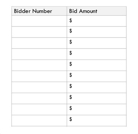 free auction bid cards template silent auction bid sheet template 21 free word excel