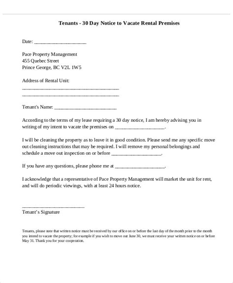 thirty day notice letter printable sle 30 day notice