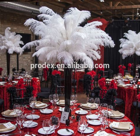 wholesale black and white ostrich feather centerpiece for