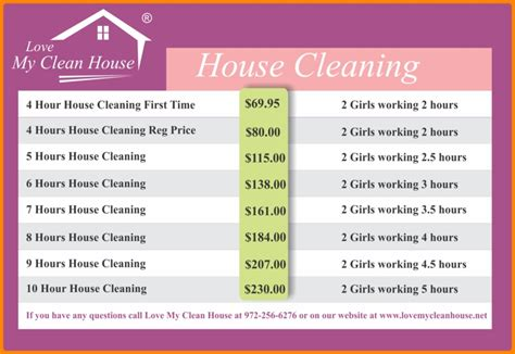Cleaning Services Prices List List Corner House Cleaning Price List Template