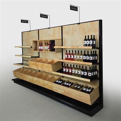 Store Shelf Display by Liquor Store Commercial Wine Racks Wood Gondola Shelving