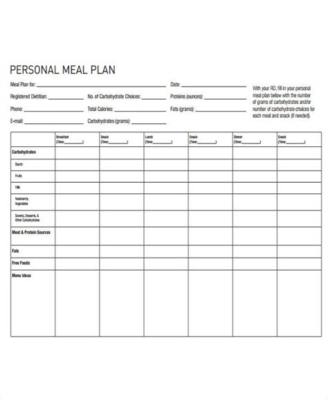 blank meal plan chart blank diet chart pertamini co
