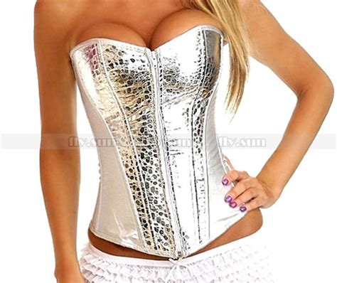Bustier Polyester Zipper Silver 1 silver white twinkle faux leather zip corset lace up bustier clubwear top s m l xl 2xl in