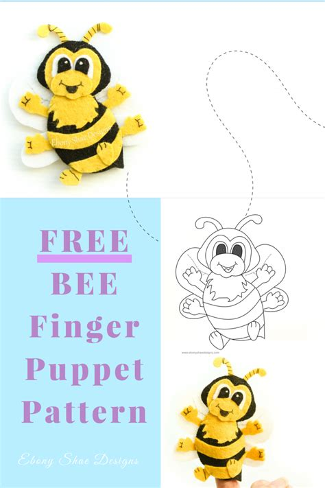 bee finger puppet template free pdf pattern bee finger puppet grab your free bee