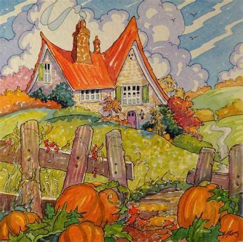 Autumn Cottage Two. Fairy tale characters. Drawings