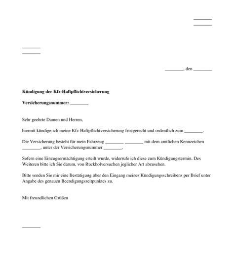 Kfz Versicherung K Ndigen Ummeldung by K 252 Ndigung Kfz Haftpflichtversicherung Muster Word Pdf