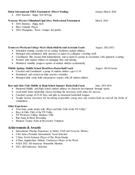 Basketball Resume by Basketball Resume