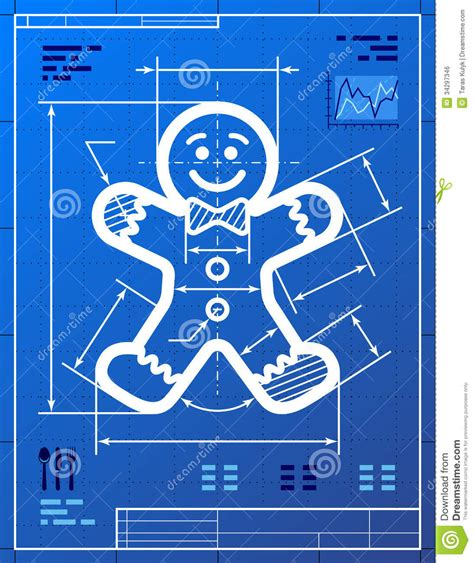 blueprint design free gingerbread man symbol like blueprint drawing stock vector