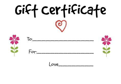Handmade Gift Certificates - gift certificate ideas to give to a grandparent