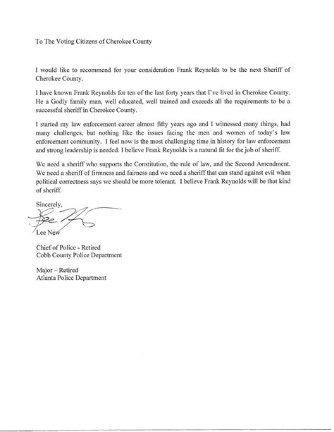 Endorsement Letter Navy Retirement Endorsements Frank Elect For Sheriff Of County
