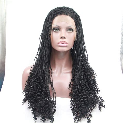 lace front braided wigs for african americans handemade braided curly synthetic lace front wig for