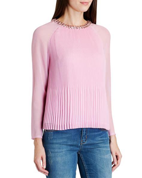 pink beaded top ted baker lovina beaded neckline top in pink lyst