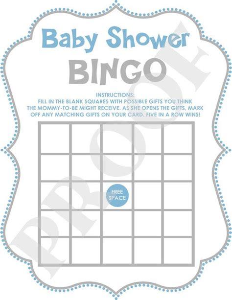 instant download baby shower bingo digital file blue pdf