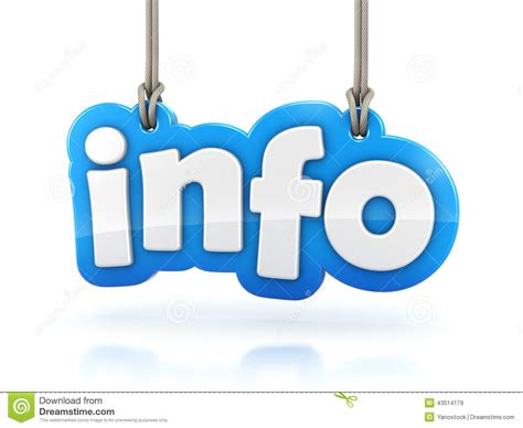 background info info 3d text word hanging on white background stock