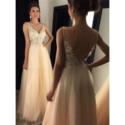 Backless V Neck Dress glamorous backless prom dresses a line v neck tulle