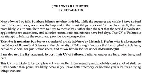 this professor posted a quot resume of failures quot for the world