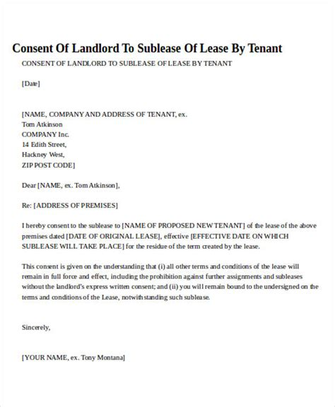 authorization letter of tenant agreement letter formats