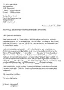 Initiativbewerbung Anschreiben Audi Muster Gt Bewerbung Als Pharmazeutisch Kaufm 228 Nnische Angestellte