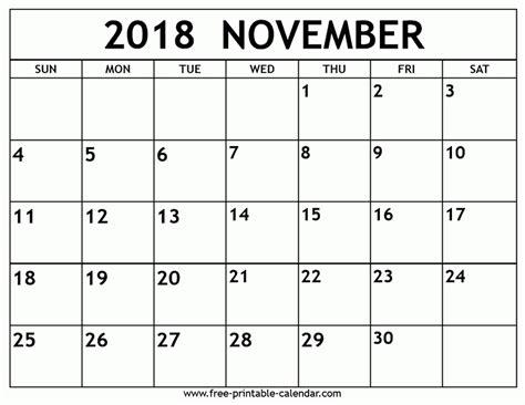 printable free november calendar printable calendar november 2018 journalingsage com