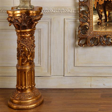 Pillars For Home Decor by Pu839 European Style Antique Gold Small Pillar Flower