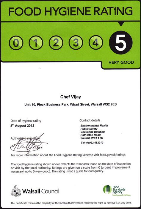 chef vijay food hygiene rating certificate united kingdom