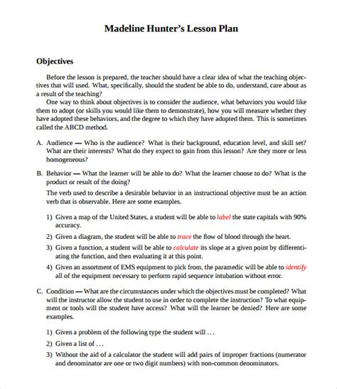 lesson plan template hunter sle madeline hunter lesson plan templates 10 free