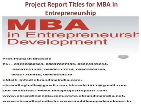 Mba And Entrepreneurship by Project Report Titles For Mba In Entrepreneurship