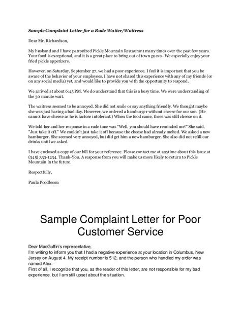 Complaint Letter About Poor Service In Restaurant Compudocs Us New Sle Resume