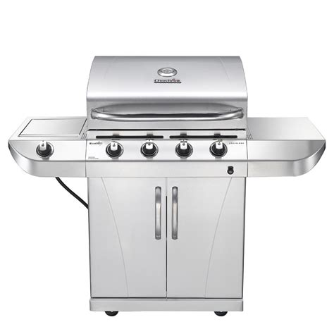 char broil 4 burner stainless steel gas grill with cabinet shop char broil stainless stainless 4 burner 34 000 btu liquid propane gas grill with side