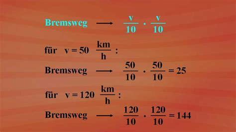 Bremsweg Auto by Terme Und Termumformungen Bremsweg Berechnung Grundkurs