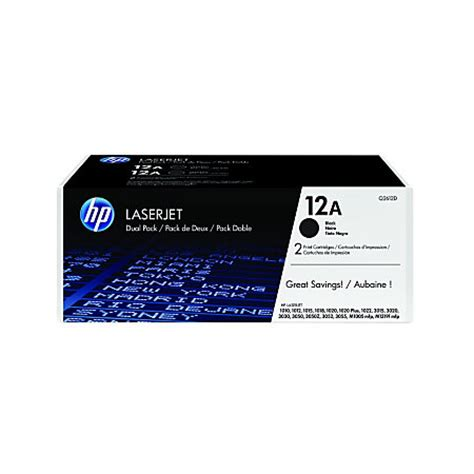Hp 12a Original hp 12a black original toner cartridges q2612d pack of 2 by office depot officemax