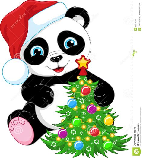 cute christmas panda bear panda and christmas tree stock vector image of background
