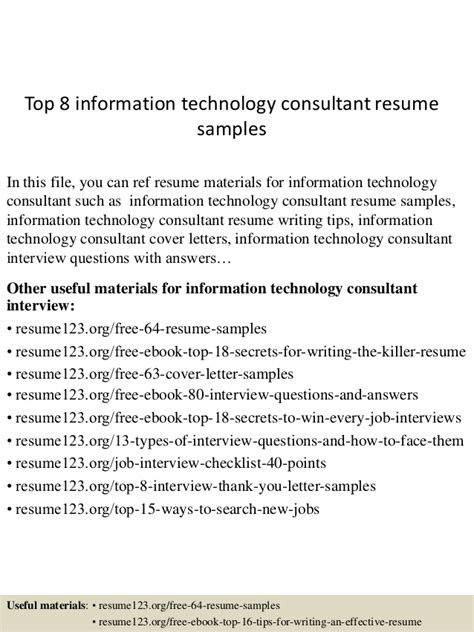 top 8 information technology consultant resume sles