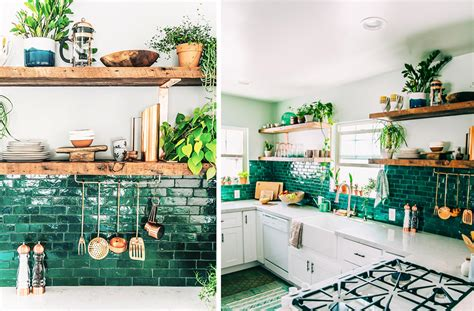 jungalow kitchen green with envy 3 kitchens that pair green tile copper accents