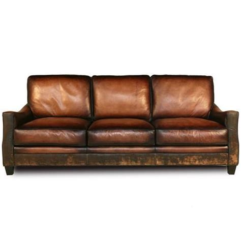 Handmade Leather Furniture - distressed handmade brown leather sofa