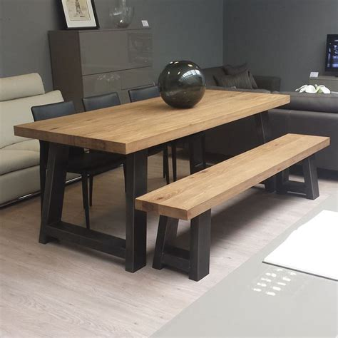 table and bench seats zeus wood metal dining table scott doesn t like the bench seat but likes the