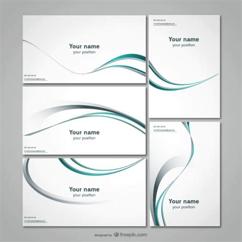 curved card template business stationery template vector free