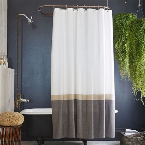 slate curtains slate horizon stripe shower curtain west elm