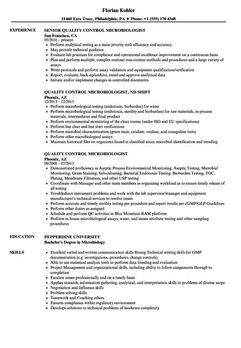 bsc microbiology resume sles resume for quality quality resume luxury resume exles for a registered
