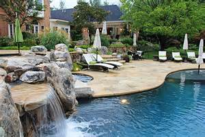 Small Backyard Swimming Pool Ideas Flagstone And Boulder Terraces Pool House Outdoor Lighting