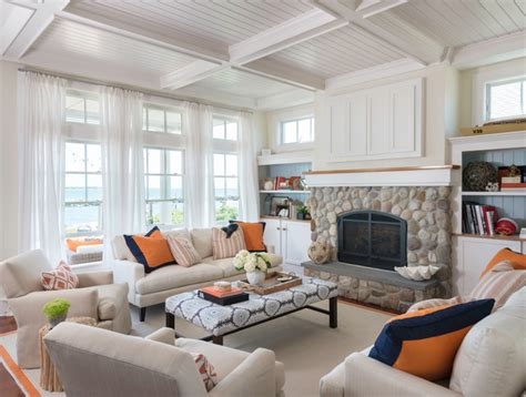 beach style living room coastal chic beach style living room providence by kate jackson design