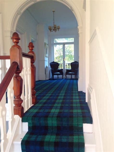 tartan carpet tartan stair runner black  tartan