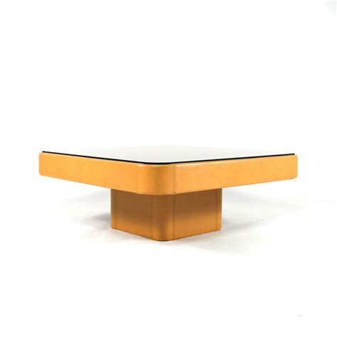 de sede leather and mirrored glass coffee table