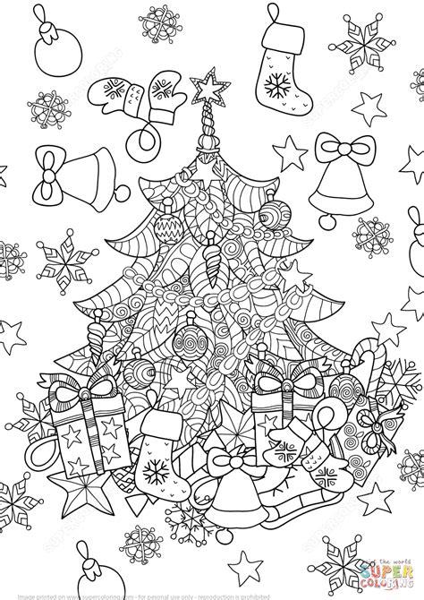 Christmas Zentangle Coloring Page | christmas tree zentangle coloring page free printable
