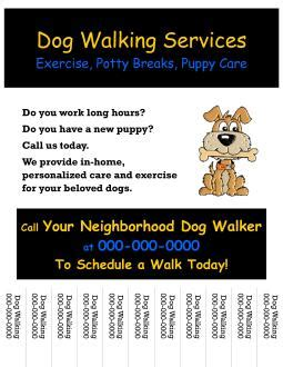 Dog Walking Prices For Kids Walking Business Flyer Template